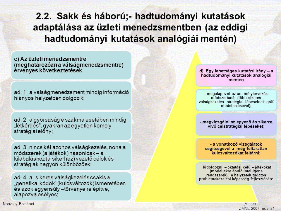 2.2. Sakk és háború;- hadtudományi kutatások adaptálása az üzleti menedzsmentben (az eddigi hadtudományi kutatások analógiái mentén) c) Az üzleti mene