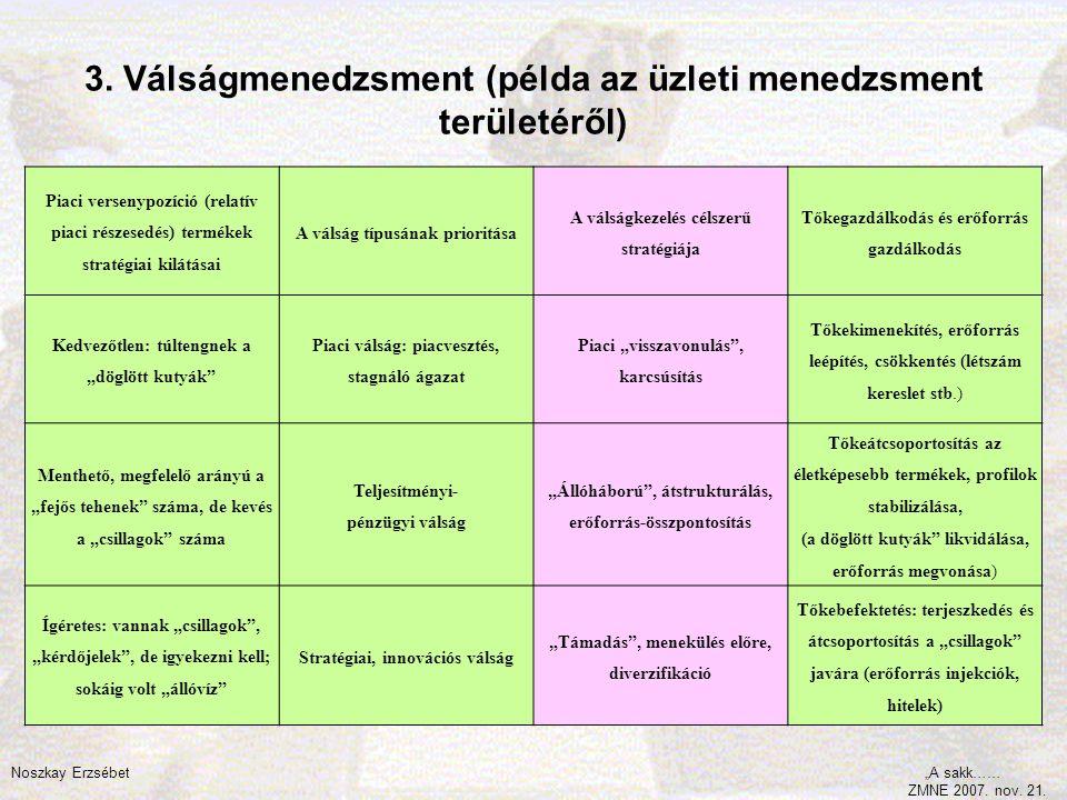 3. Válságmenedzsment (példa az üzleti menedzsment területéről) Piaci versenypozíció (relatív piaci részesedés) termékek stratégiai kilátásai A válság