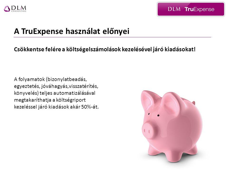 A TruExpense használat előnyei Csökkentse felére a költségelszámolások kezelésével járó kiadásokat.