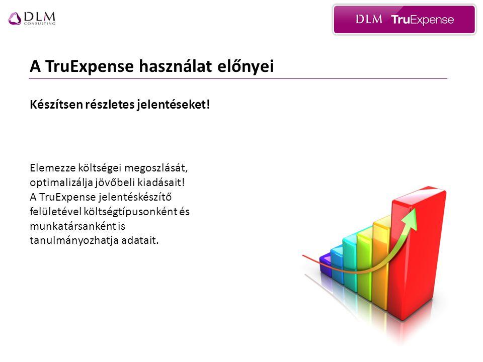 A TruExpense használat előnyei Készítsen részletes jelentéseket.