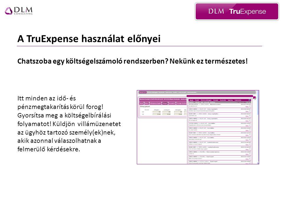 A TruExpense használat előnyei Chatszoba egy költségelszámoló rendszerben.