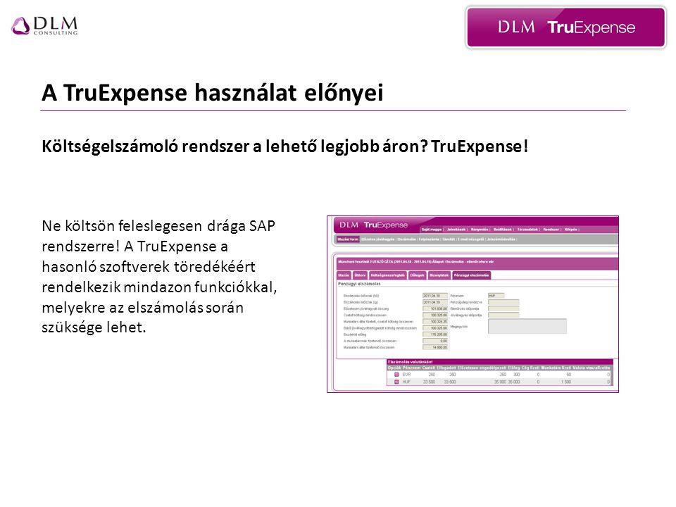 A TruExpense használat előnyei Ne költsön feleslegesen drága SAP rendszerre.