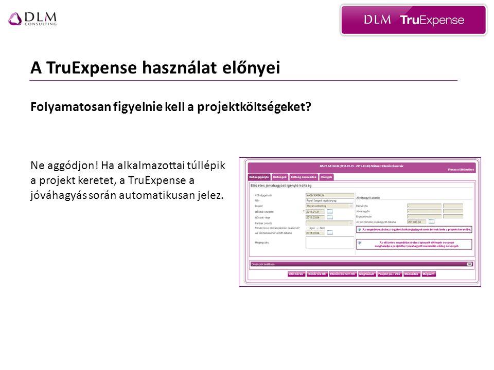 A TruExpense használat előnyei A TruExpense rendszerrel alkalmazottai összes tranzakcióját egy folyószámlán vezetheti.