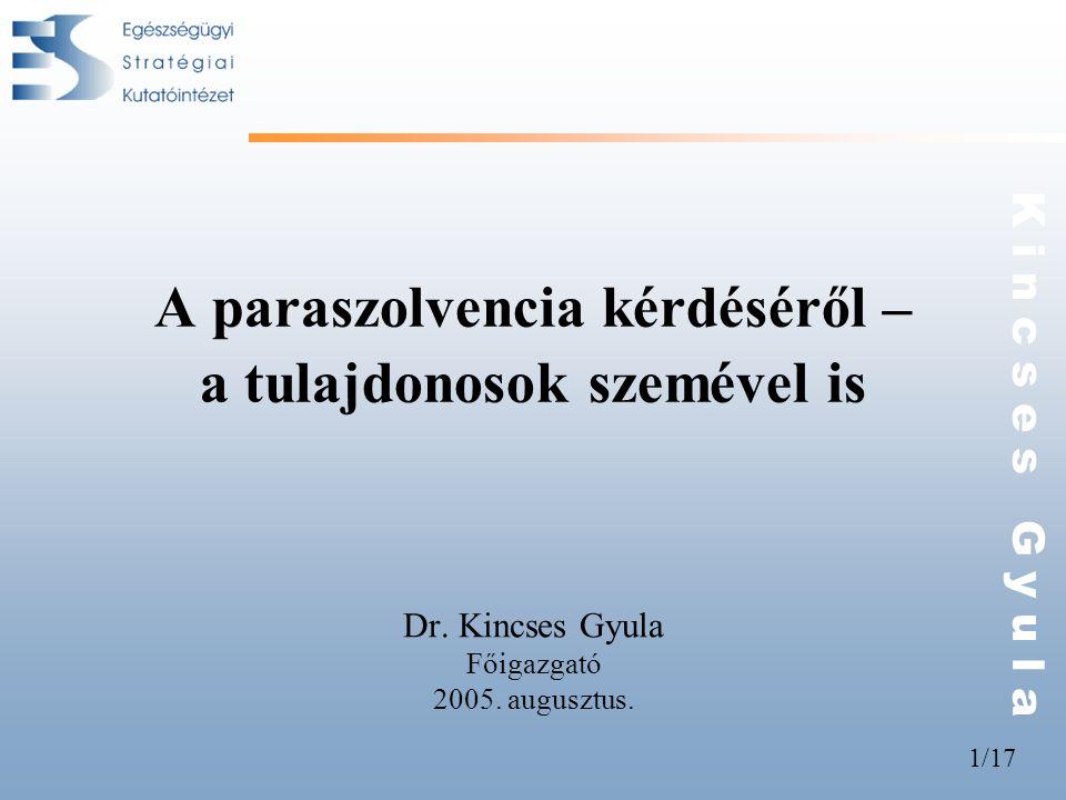 1/17 K i n c s e s G y u l a A paraszolvencia kérdéséről – a tulajdonosok szemével is Dr. Kincses Gyula Főigazgató 2005. augusztus.