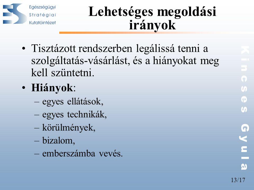 13/17 K i n c s e s G y u l a Lehetséges megoldási irányok •Tisztázott rendszerben legálissá tenni a szolgáltatás-vásárlást, és a hiányokat meg kell s