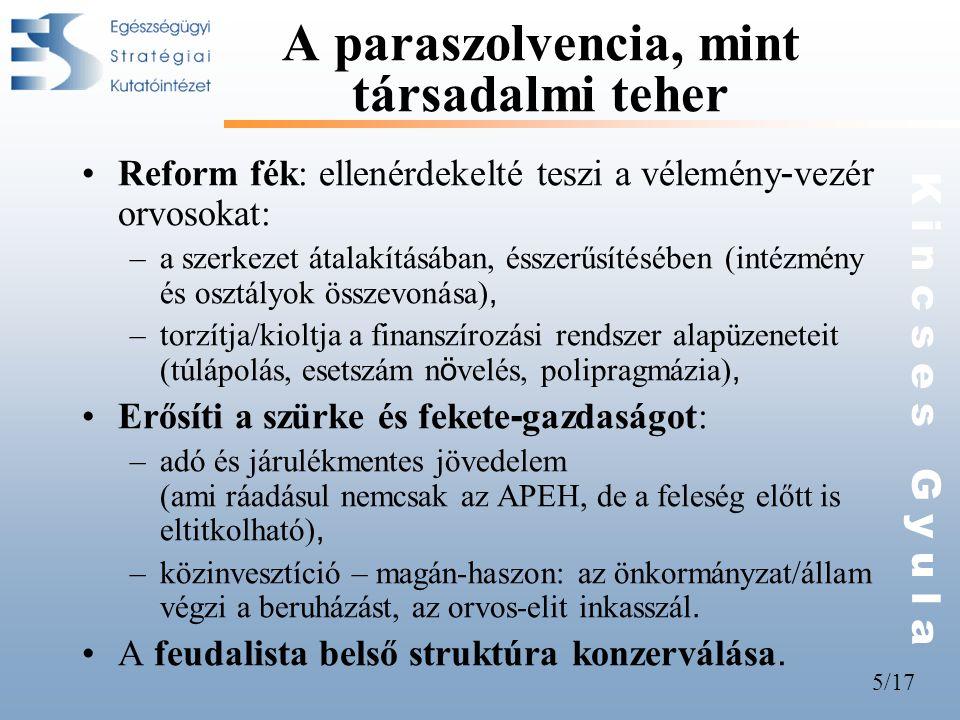5/17 K i n c s e s G y u l a A paraszolvencia, mint társadalmi teher •Reform fék: ellenérdekelté teszi a vélemény - vezér orvosokat: –a szerkezet átal
