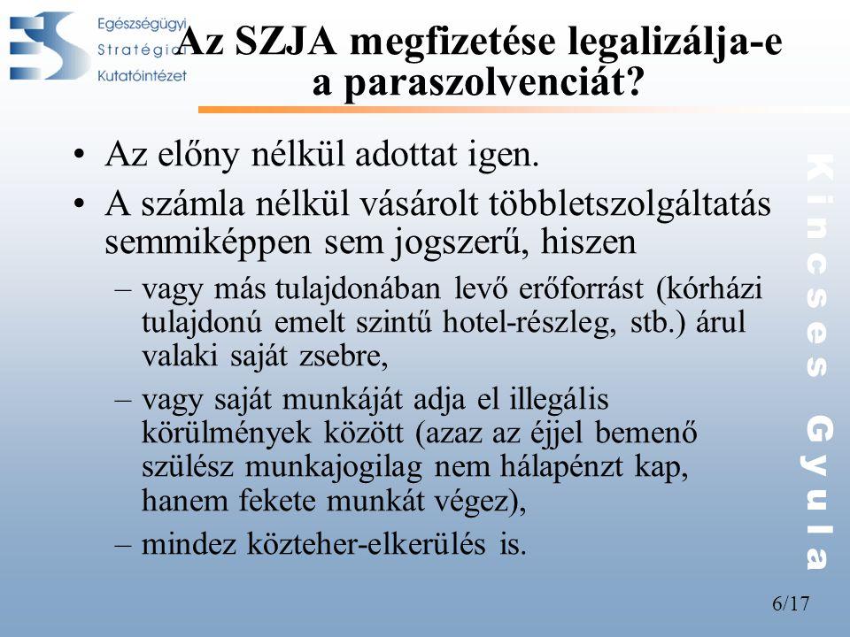 6/17 K i n c s e s G y u l a Az SZJA megfizetése legalizálja-e a paraszolvenciát? •Az előny nélkül adottat igen. •A számla nélkül vásárolt többletszol