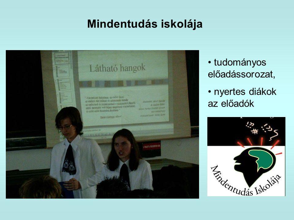 Mindentudás iskolája • tudományos előadássorozat, • nyertes diákok az előadók