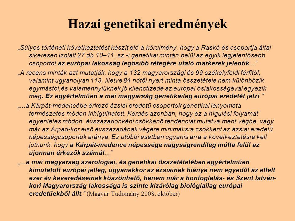 """Hazai genetikai eredmények """"Súlyos történeti következtetést készít elő a körülmény, hogy a Raskó és csoportja által sikeresen izolált 27 db 10–11."""