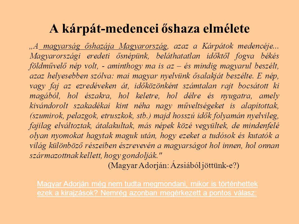 """A kárpát-medencei őshaza elmélete """"A magyarság őshazája Magyarország, azaz a Kárpátok medencéje..."""