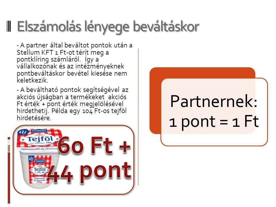 Elszámolás lényege beváltáskor - A partner által beváltot pontok után a Stellum KFT 1 Ft-ot térít meg a pontklíring számláról. Így a vállalkozónak és