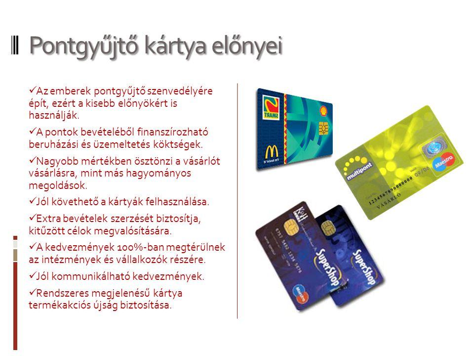 Pontgyűjtő kártya előnyei  Az emberek pontgyűjtő szenvedélyére épít, ezért a kisebb előnyökért is használják.  A pontok bevételéből finanszírozható