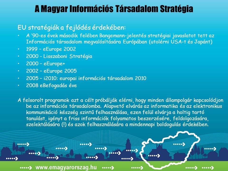 A Magyar Információs Társadalom Stratégia EU stratégiák a fejlődés érdekében: •A '90-es évek második felében Bangemann-jelentés stratégiai javaslatot tett az Információs társadalom megvalósítására Európában (utolérni USA-t és Japánt) •1999 – eEurope 2002 •2000 - Lisszaboni Stratégia •2000 – eEurope+ •2002 – eEurope 2005 •2005 – i2010: europai információs társadalom 2010 •2008 eBefogadás éve A felsorolt programok azt a célt próbálják elérni, hogy minden állampolgár kapcsolódjon be az információs társadalomba.
