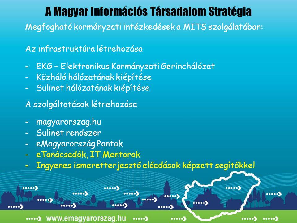 A Magyar Információs Társadalom Stratégia Megfogható kormányzati intézkedések a MITS szolgálatában: Az infrastruktúra létrehozása -EKG – Elektronikus Kormányzati Gerinchálózat -Közháló hálózatának kiépítése -Sulinet hálózatának kiépítése A szolgáltatások létrehozása - magyarorszag.hu -Sulinet rendszer -eMagyarország Pontok -eTanácsadók, IT Mentorok -Ingyenes ismeretterjesztő előadások képzett segítőkkel