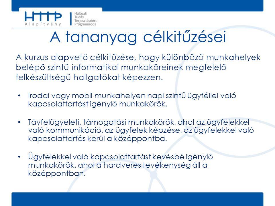 A tananyag célkitűzései A kurzus alapvető célkitűzése, hogy különböző munkahelyek belépő szintű informatikai munkaköreinek megfelelő felkészültségű ha