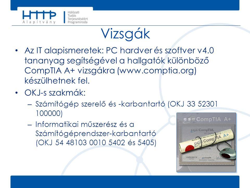 A tananyagról • Számítógépek belső felépítése • Számítógép-konfiguráció összeállítása • Operációs rendszer telepítése • Alapvető hibaelhárítási feladatok • A rendszer diagnosztikus eszközeinek használata • Az internet és a hálózatok alapjai • Laptopok és más hordozható eszközök • Vezeték nélküli hálózatok kapcsolódási, biztonsági és környezeti kérdései • Kommunikációs képességek fejlesztése A kurzus a számítógépes hardver és szoftver alapismereteket és néhány haladó szintű ismeretkört tartalmaz: