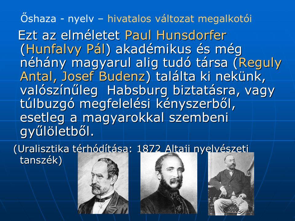 Ezt az elméletet Paul Hunsdorfer (Hunfalvy Pál) akadémikus és még néhány magyarul alig tudó társa (Reguly Antal, Josef Budenz) találta ki nekünk, valószínűleg Habsburg biztatásra, vagy túlbuzgó megfelelési kényszerből, esetleg a magyarokkal szembeni gyűlöletből.
