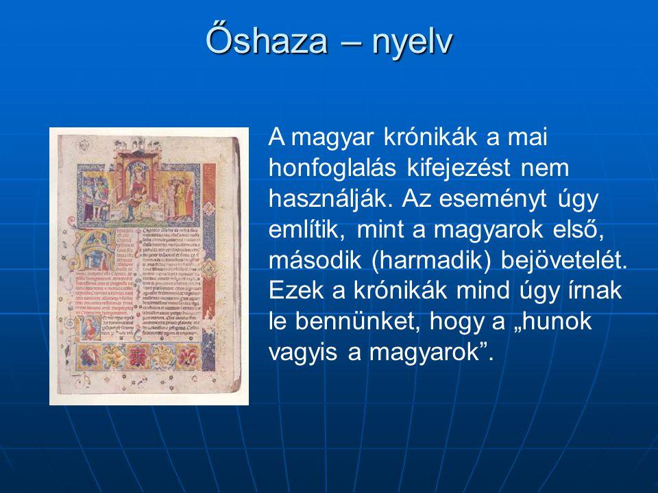 Őshaza – nyelv A magyar krónikák a mai honfoglalás kifejezést nem használják.