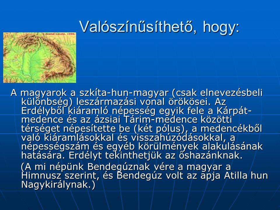 Valószínűsíthető, hogy: Valószínűsíthető, hogy: A magyarok a szkíta-hun-magyar (csak elnevezésbeli különbség) leszármazási vonal örökösei.