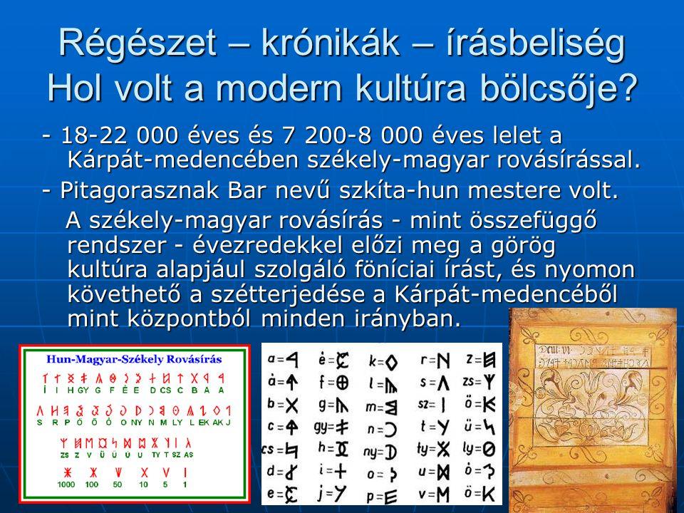 Régészet – krónikák – írásbeliség Hol volt a modern kultúra bölcsője.