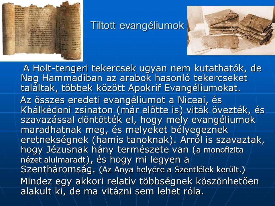 Tiltott evangéliumok A Holt-tengeri tekercsek ugyan nem kutathatók, de Nag Hammadiban az arabok hasonló tekercseket találtak, többek között Apokrif Evangéliumokat.