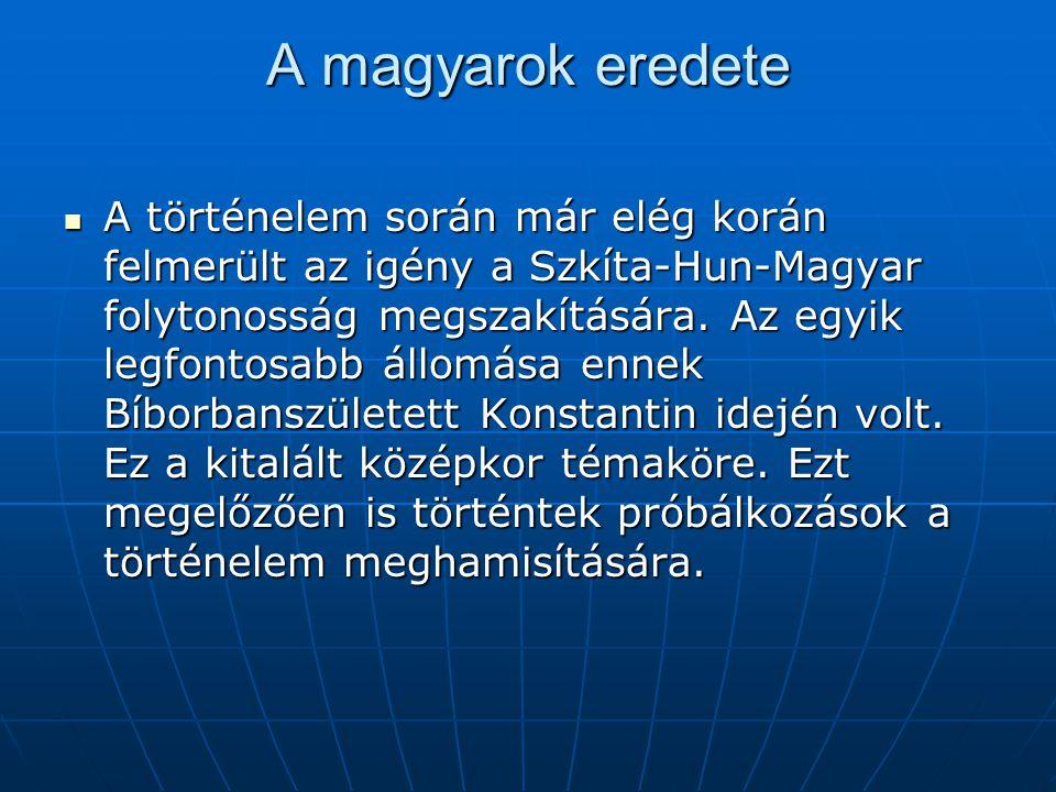 A magyarok eredete  A történelem során már elég korán felmerült az igény a Szkíta-Hun-Magyar folytonosság megszakítására.
