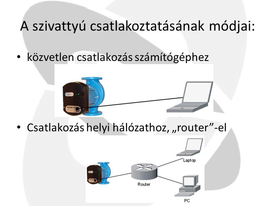 """A szivattyú csatlakoztatásának módjai: • közvetlen csatlakozás számítógéphez • Csatlakozás helyi hálózathoz, """"router""""-el"""
