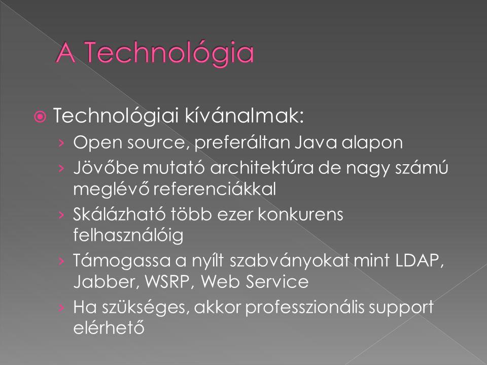  Technológiai kívánalmak: › Open source, preferáltan Java alapon › Jövőbe mutató architektúra de nagy számú meglévő referenciákkal › Skálázható több ezer konkurens felhasználóig › Támogassa a nyílt szabványokat mint LDAP, Jabber, WSRP, Web Service › Ha szükséges, akkor professzionális support elérhető