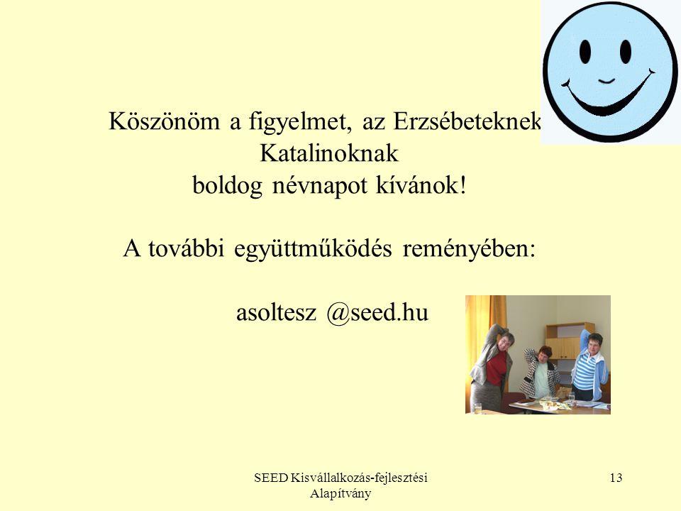 SEED Kisvállalkozás-fejlesztési Alapítvány 13 Köszönöm a figyelmet, az Erzsébeteknek, Katalinoknak boldog névnapot kívánok.