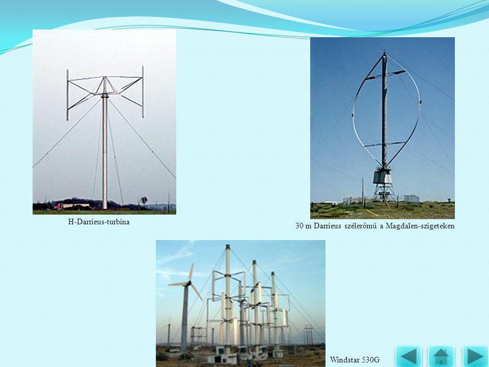 30 m Darrieus szélerőmű a Magdalen-szigeteken H-Darrieus-turbina Windstar 530G