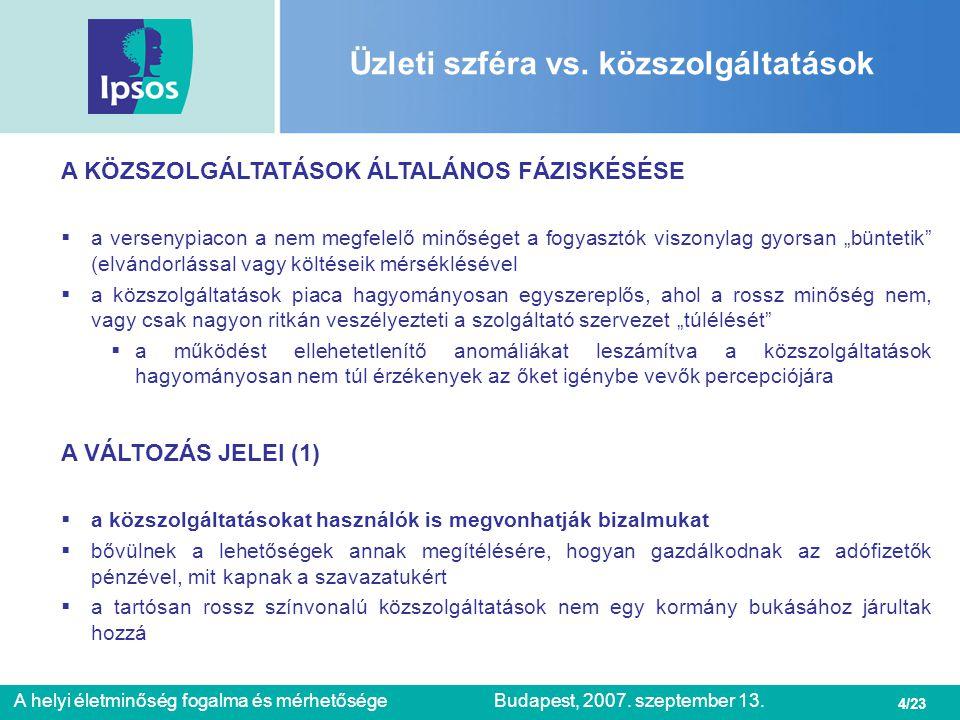 4/23 A helyi életminőség fogalma és mérhetőségeBudapest, 2007. szeptember 13. Üzleti szféra vs. közszolgáltatások A KÖZSZOLGÁLTATÁSOK ÁLTALÁNOS FÁZISK