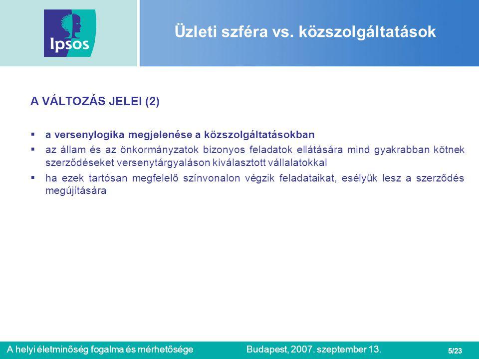 16/23 A helyi életminőség fogalma és mérhetőségeBudapest, 2007.