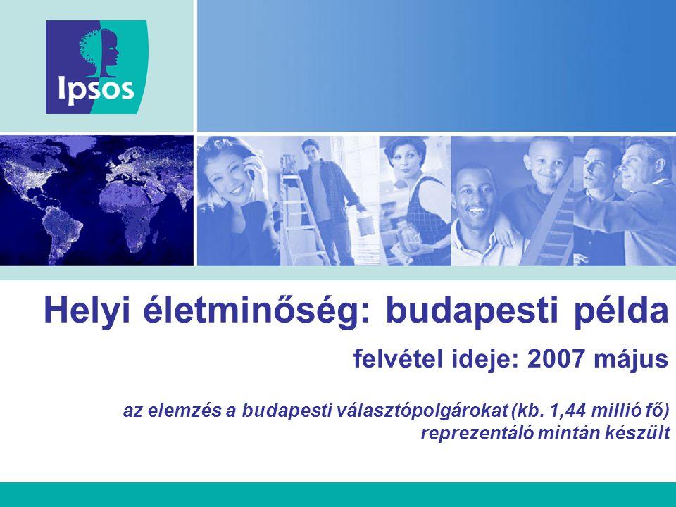Helyi életminőség: budapesti példa felvétel ideje: 2007 május az elemzés a budapesti választópolgárokat (kb. 1,44 millió fő) reprezentáló mintán készü