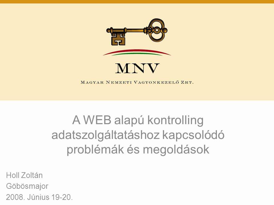 A WEB alapú kontrolling adatszolgáltatáshoz kapcsolódó problémák és megoldások Holl Zoltán Göbösmajor 2008. Június 19-20.