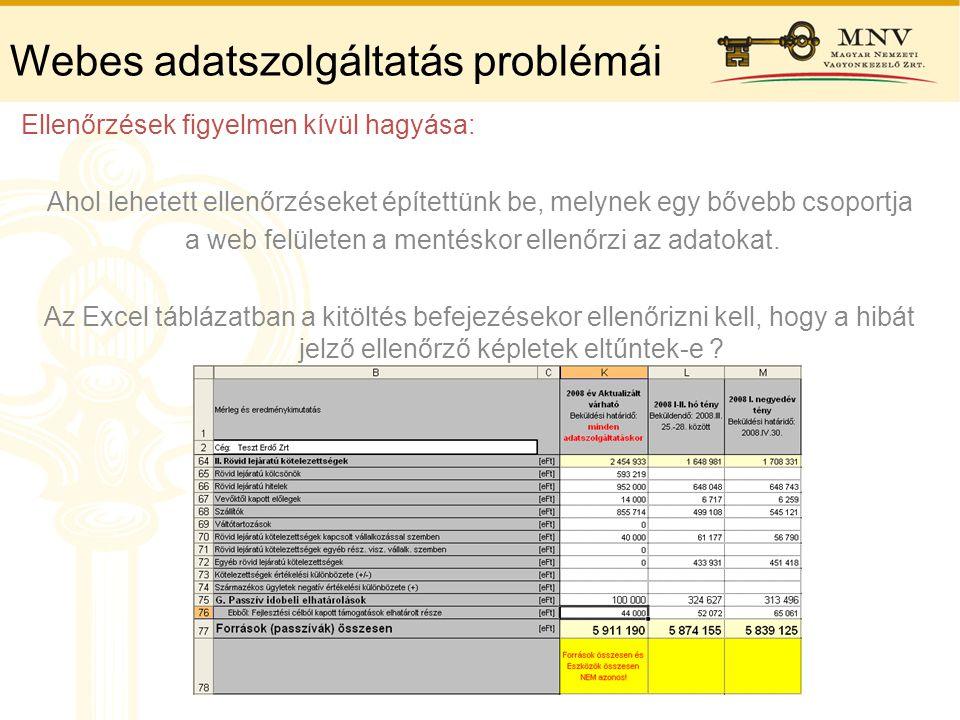 Webes adatszolgáltatás problémái Ellenőrzések figyelmen kívül hagyása: Ahol lehetett ellenőrzéseket építettünk be, melynek egy bővebb csoportja a web