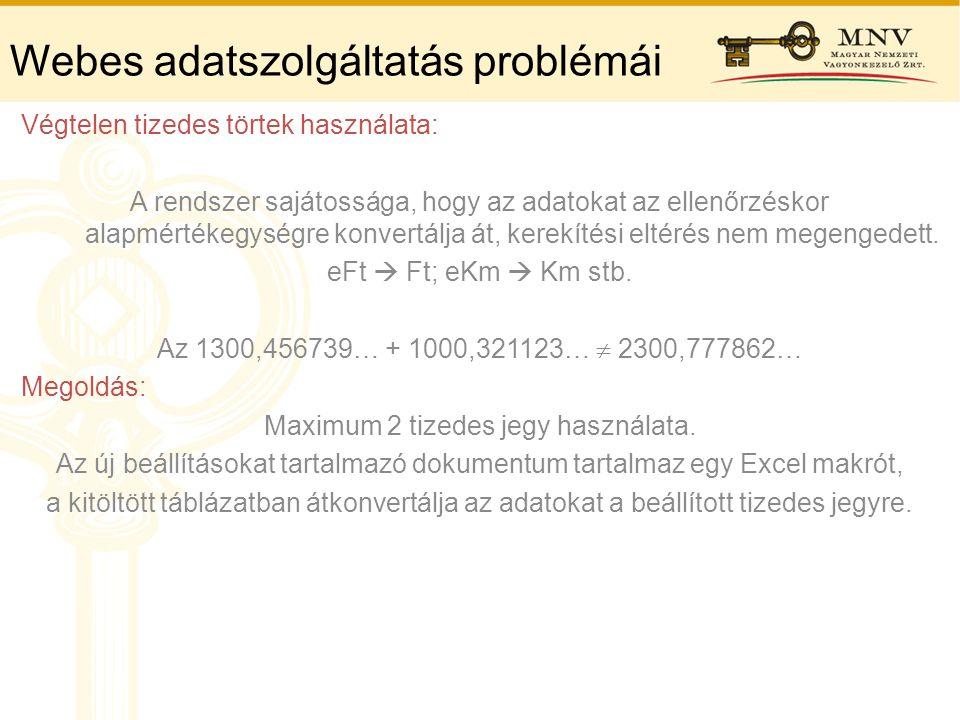 Webes adatszolgáltatás problémái Végtelen tizedes törtek használata: A rendszer sajátossága, hogy az adatokat az ellenőrzéskor alapmértékegységre konv