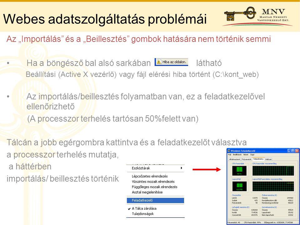 """Webes adatszolgáltatás problémái Az """"Importálás"""" és a """"Beillesztés"""" gombok hatására nem történik semmi •Ha a böngésző bal alsó sarkában látható Beállí"""