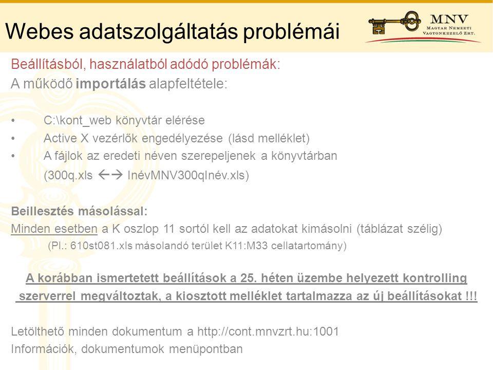 Webes adatszolgáltatás problémái Beállításból, használatból adódó problémák: A működő importálás alapfeltétele: •C:\kont_web könyvtár elérése •Active