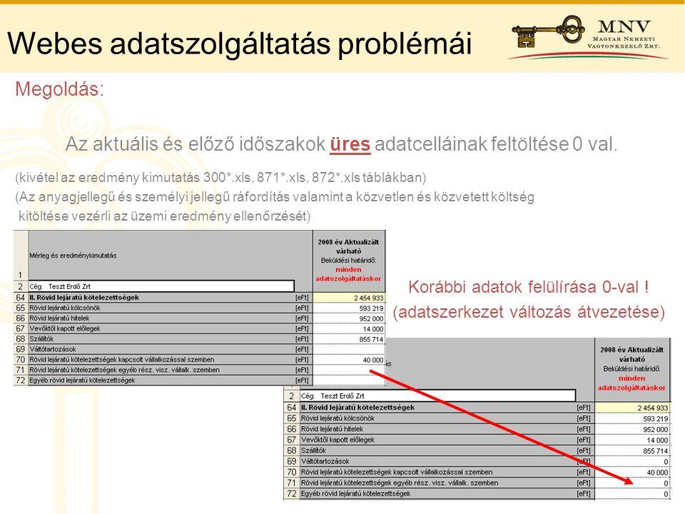 Webes adatszolgáltatás problémái Megoldás: Az aktuális és előző időszakok üres adatcelláinak feltöltése 0 val. (kivétel az eredmény kimutatás 300*.xls