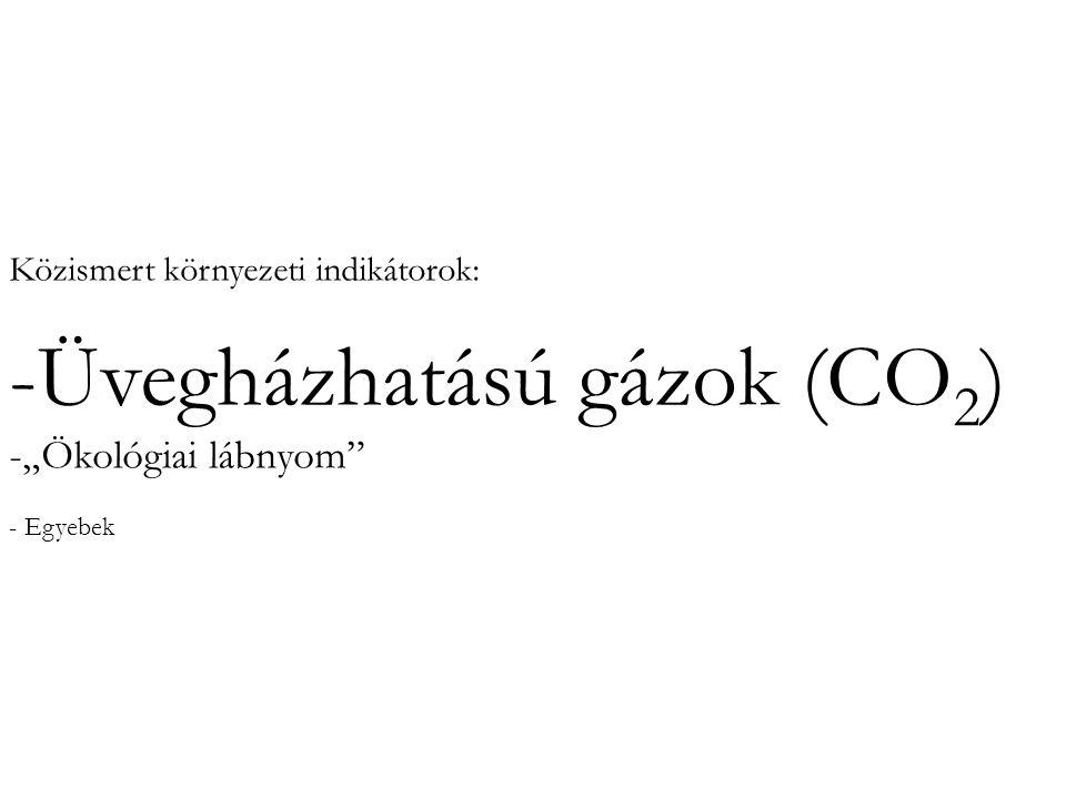 """Közismert környezeti indikátorok: -Üvegházhatású gázok (CO 2 ) -""""Ökológiai lábnyom"""" - Egyebek"""