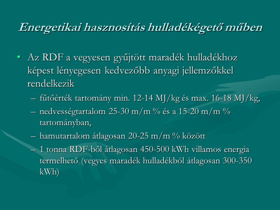 Energetikai hasznosítás hulladékégető műben •Az RDF a vegyesen gyűjtött maradék hulladékhoz képest lényegesen kedvezőbb anyagi jellemzőkkel rendelkezi
