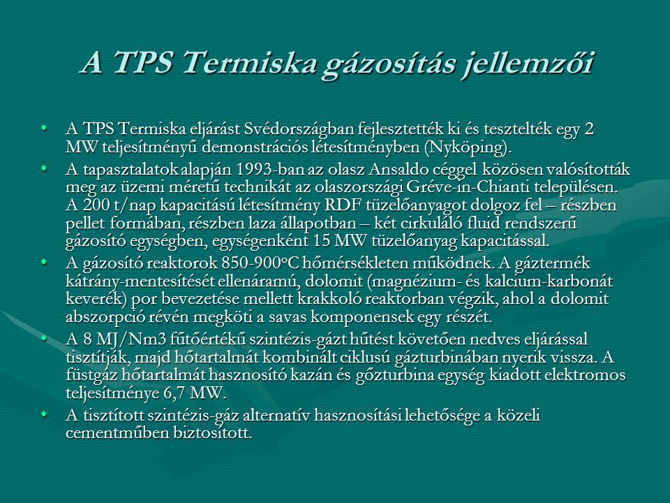 A TPS Termiska gázosítás jellemzői •A TPS Termiska eljárást Svédországban fejlesztették ki és tesztelték egy 2 MW teljesítményű demonstrációs létesítm