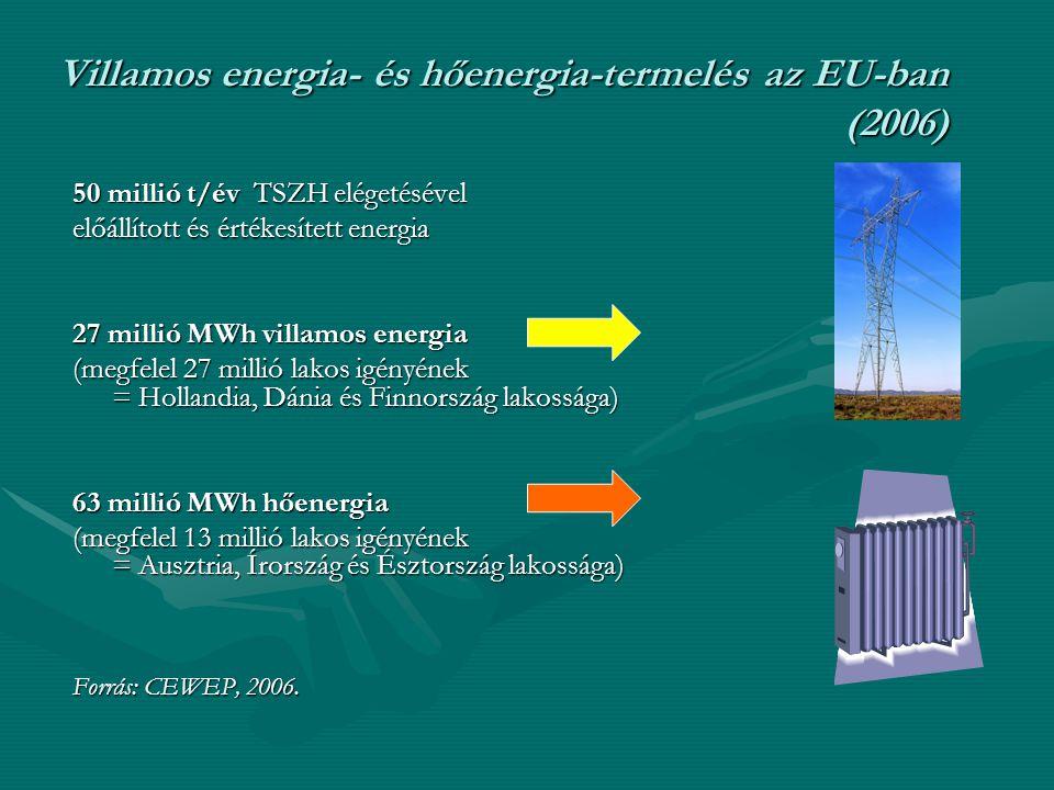 Villamos energia- és hőenergia-termelés az EU-ban (2006) 50 millió t/év TSZH elégetésével előállított és értékesített energia 27 millió MWh villamos e