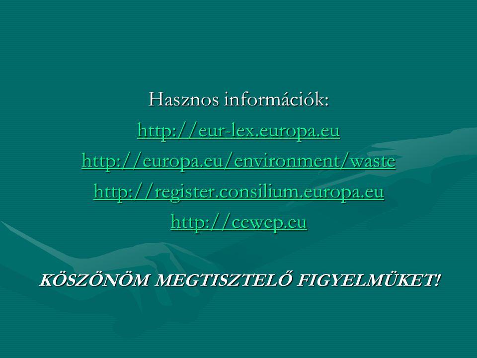 Hasznos információk: http://eur-lex.europa.eu http://europa.eu/environment/waste http://register.consilium.europa.eu http://cewep.eu KÖSZÖNÖM MEGTISZT