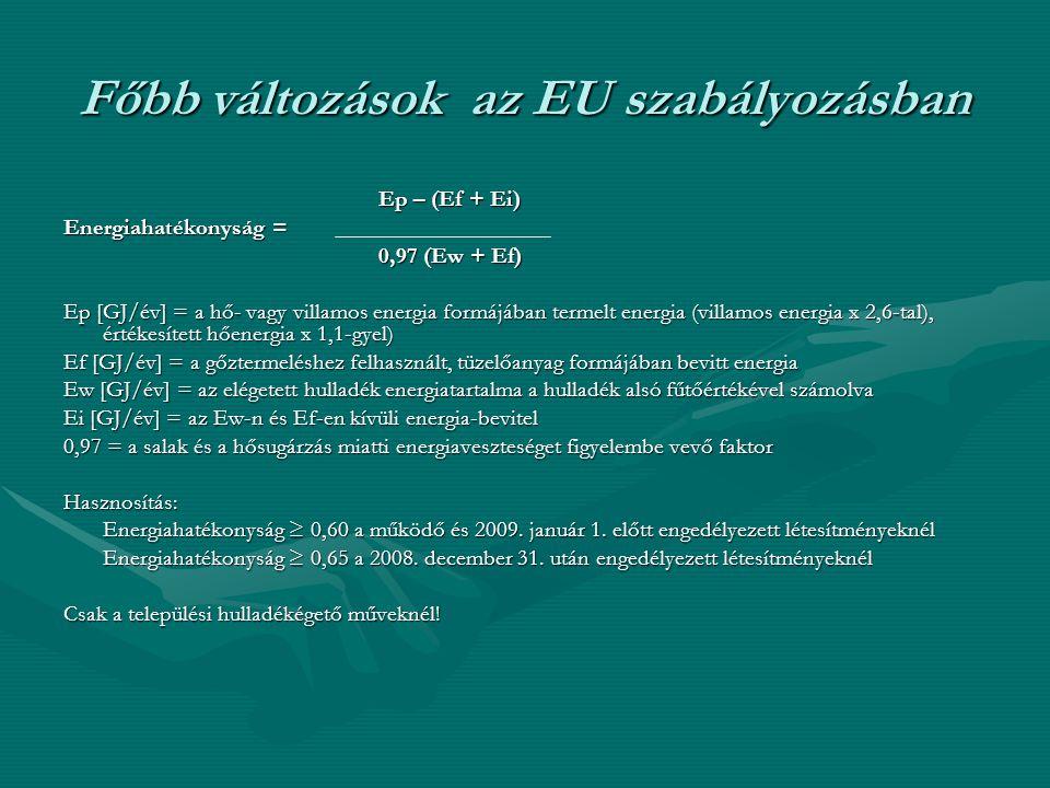 Főbb változások az EU szabályozásban Ep – (Ef + Ei) Energiahatékonyság = 0,97 (Ew + Ef) Ep [GJ/év] = a hő- vagy villamos energia formájában termelt en