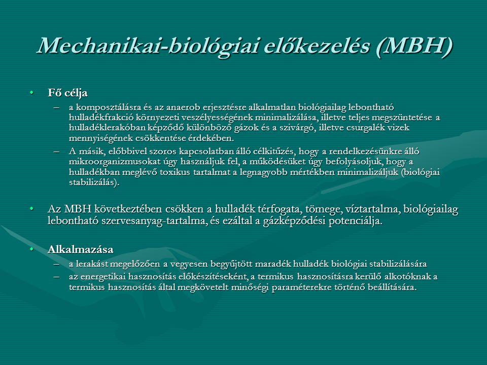 Mechanikai-biológiai előkezelés (MBH) •Fő célja –a komposztálásra és az anaerob erjesztésre alkalmatlan biológiailag lebontható hulladékfrakció környe