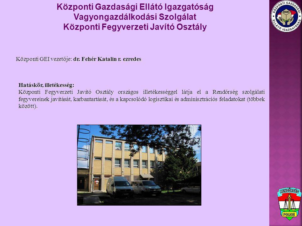 Központi GEI vezetője: dr. Fehér Katalin r. ezredes Központi Gazdasági Ellátó Igazgatóság Vagyongazdálkodási Szolgálat Központi Fegyverzeti Javító Osz