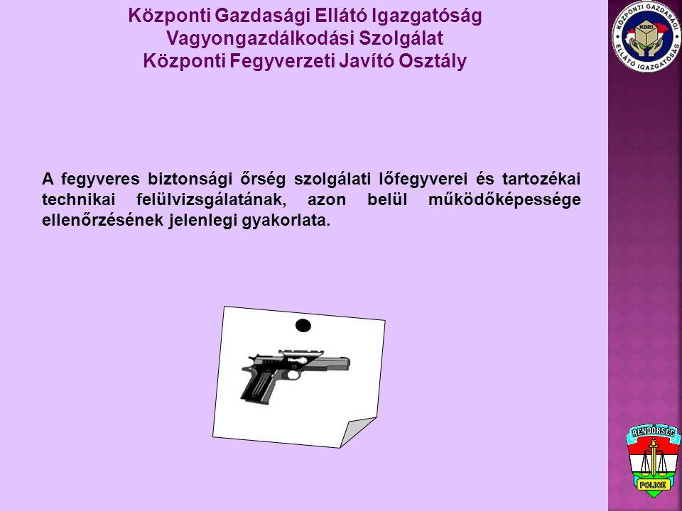 Központi Gazdasági Ellátó Igazgatóság Vagyongazdálkodási Szolgálat Központi Fegyverzeti Javító Osztály géppisztolyok, gépkarabélyok: -7,62 mm (43M) űrméretű AK-47, AMD-63 típusú gépkarabélyok - 9 mm Luger űrméretű HK MP5, UZI típusú géppisztolyok A fegyveres biztonsági őrség fegyverei - tapasztalataim szerint – közel azonos típusúak, mint a rendőrség szolgálati fegyverei: pisztolyok: 7,65 mm Browning űrméretű R-78 típusú 9 mm Luger űrméretű PA-63 valamint P9RC, Sig-Sauer, HK USP típusú
