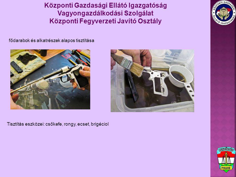 Jellegzetes meghibásodások: A fegyver korából adódó hibák: elgyengült tokszerkezetből, anyagfáradásból adódó törések, kopások Központi Gazdasági Ellátó Igazgatóság Vagyongazdálkodási Szolgálat Központi Fegyverzeti Javító Osztály A fegyver korából adódó hibák: elgyengült tokszerkezetből, anyagfáradásból adódó törések, kopások Karbantartás hiányából adódó hibák: nem záródik fegyver lövés leadása előtt és csőretöltés után, korom lerakódás, lőpormaradvány lerakódás miatt csőszennyeződés idegen test a csőben nem a fegyver karbantartásához való olaj használata (pl.: étolaj) Helytelen tárolásból adódó hibák: A tár nincs ürítve a tároláskor (hosszabb időintervallum: a tár rugója elfárad, nem adogat fizikai sérülés (leesés): pl.: tárajkak sérülése Magas páratartalmú helyiség A fegyver konstrukciójából adódó hibák: kopások miatt sorozatot lő a pisztoly gyenge felületkezelés: gyors rozsdásodás Nem a fegyverhez való, vagy eltérő lőportöltetű lőszer miatti hibák: Gyenge, kevés lőportöltet: a lövedék nem hagyja el csövet, megszorul a csőben, nincs energia az öntöltéshez Erős lőportöltet: nagy sebességgel csapódik hátra a szán, törés, deformáció keletkezhet, kiég a huzagolás, nincs tompítás