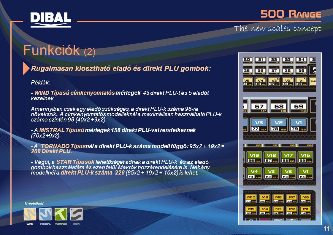 11 Funkciók (2) Rugalmasan kiosztható eladó és direkt PLU gombok: Példák: - WIND Típusú címkenyomtatós mérlegek 45 direkt PLU-t és 5 eladót kezelnek.